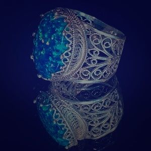Size 5 Blue Fire Opal 925 Silver Filigree Ring